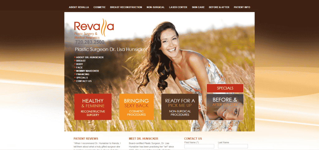 revalla, practice website, homepage, aesthetic marketing