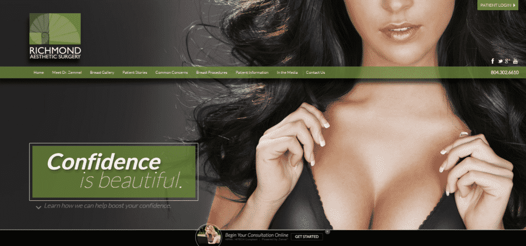practice website, homepage, richmond breast implants
